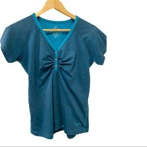 Kuhl Henley short sleeve teal woman's top